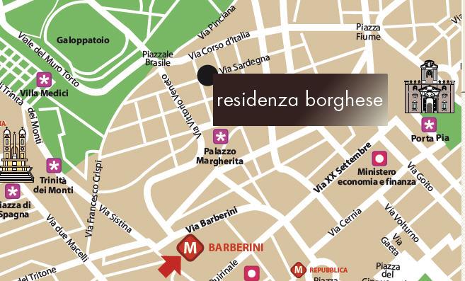 Plano de acceso de Hotel Residenza Borghese