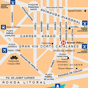 Plano de acceso de Hotel Avenida Palace