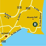 Plano de acceso de Hotel Holiday Inn Alicante-Playa De San Juan