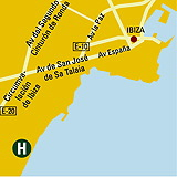 Plano de acceso de Hotel Migjorn Ibiza Suites And Spa