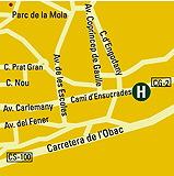 Plano de acceso de Hotel Les Closes