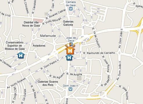 Plano de acceso de Clip Hotel Gaia Porto
