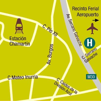 Plano de acceso de Hotel Suites Foxa M-30- Exclusive