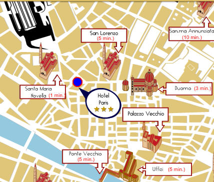 Plano de acceso de Paris Hotel