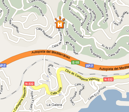 Plano de acceso de Hotel Aptos Pierre And Vacances Altea Hills