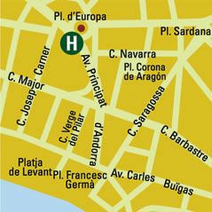 Plano de acceso de Hotel H10 Europa Park