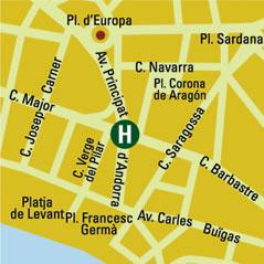 Plano de acceso de Hotel H10 Salou Princess