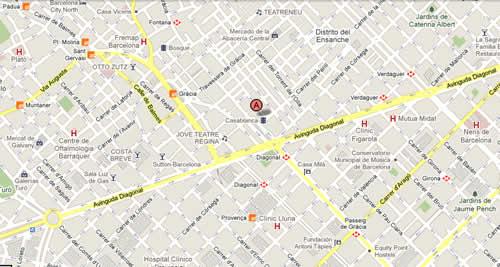 Plano de acceso de Hotel Suites Center Barcelona