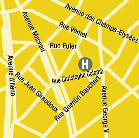 Plano de acceso de Hotel François 1Er