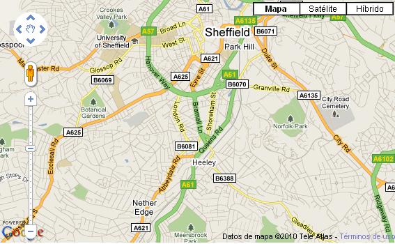 Plano de acceso de Copthorne Hotel Sheffield