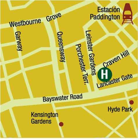 Plano de acceso de Hotel Park Inn Hyde Park