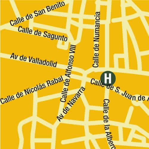 Plano de acceso de Hotel Leonor Centro