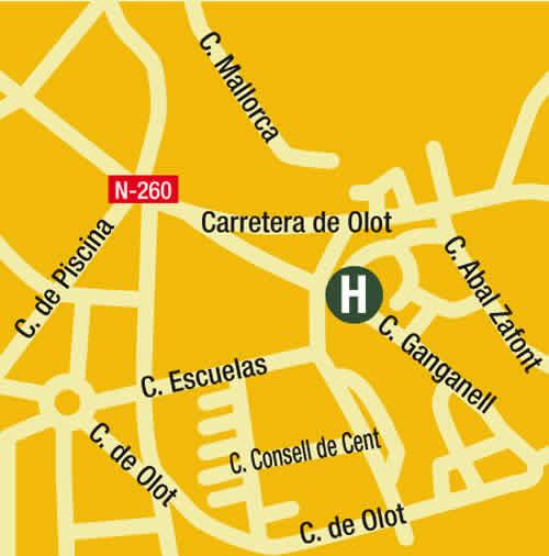 Plano de acceso de Hotel Comte Tallaferro