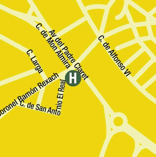 Plano de acceso de Hotel San Antonio Real
