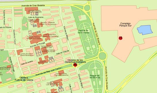 Plano de acceso de Hotel Parque Sur