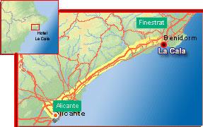 Plano de acceso de Hotel La Cala
