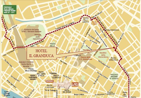 Plano de acceso de Hotel Il Granduca