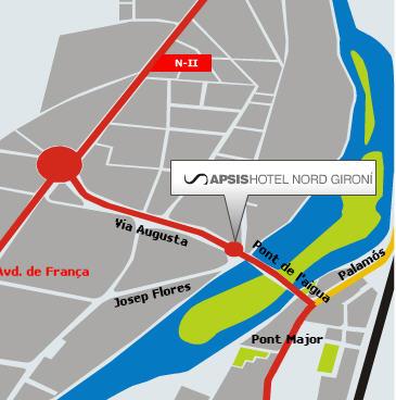 Plano de acceso de Hotel Gironi Nord