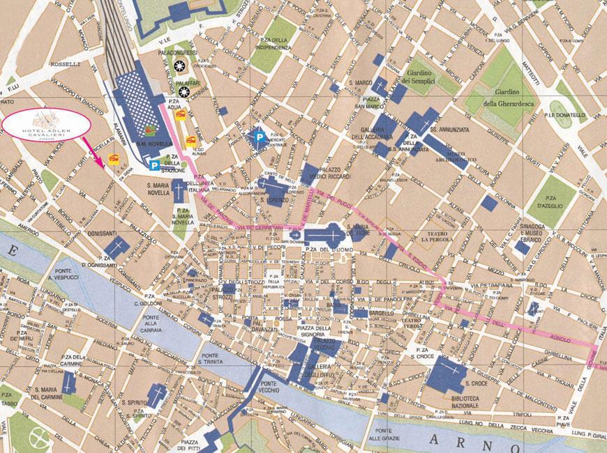 Plano de acceso de Hotel Adler Cavalieri