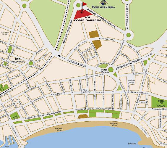Plano de acceso de Hotel Sol Costa Daurada
