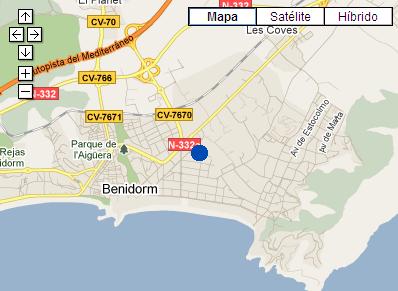 Plano de acceso de Hotel P And V Maeva Benidorm