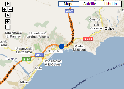 Plano de acceso de Hotel P And V Altea Port Oasis Beach