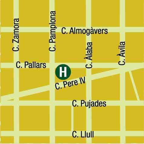 Plano de acceso de Sallés Hotel Pere Iv