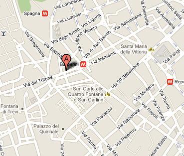 Plano de acceso de Hotel Barberini Suites Bb