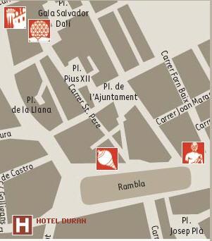 Plano de acceso de Duran Hotel