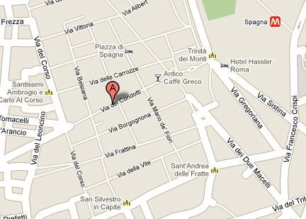 Plano de acceso de Hotel Condotti 29 Rome Suites Bb