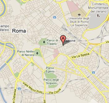 Plano de acceso de Hotel Milton Roma