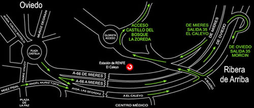 Plano de acceso de Hotel Castillo Del Bosque La Zoreda