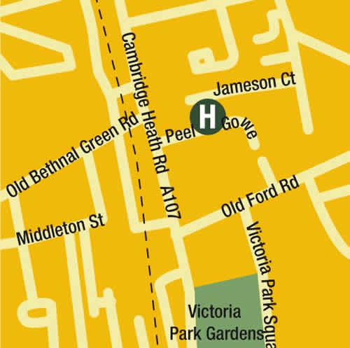 Plano de acceso de Town Hall Hotel