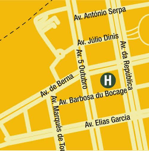 Plano de acceso de Hotel Turim Iberia