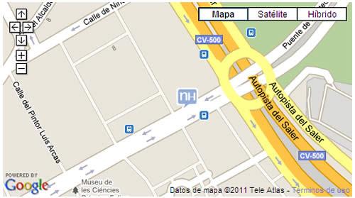Plano de acceso de Hotel Nh Las Artes
