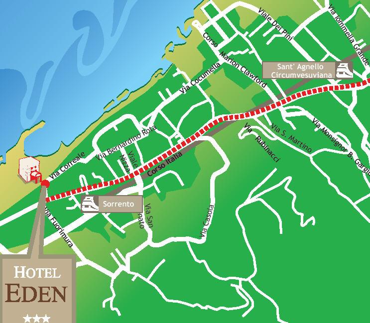 Plano de acceso de Hotel Eden