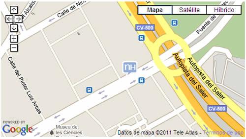 Plano de acceso de Hotel Nh Las Artes Ii