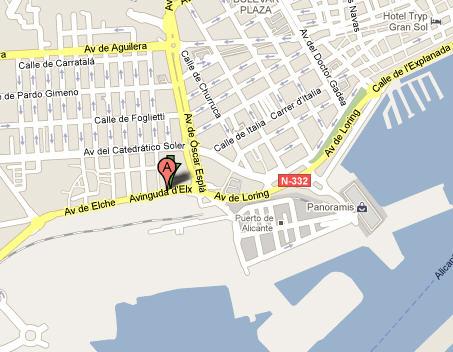 Plano de acceso de Hotel Ac Alicante