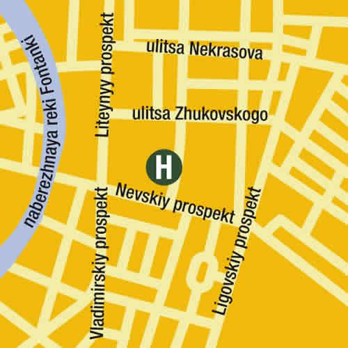 Plano de acceso de Nevsky Central Hotel
