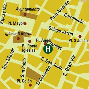 Plano de acceso de Hotel Plaza Del Angel
