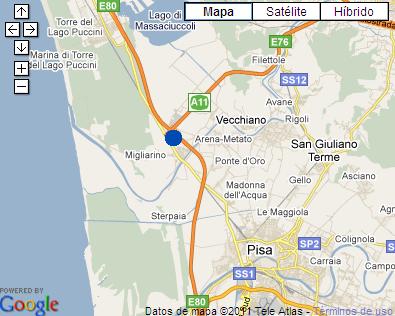 Plano de acceso de Idea Hotel Pisa Migliarino