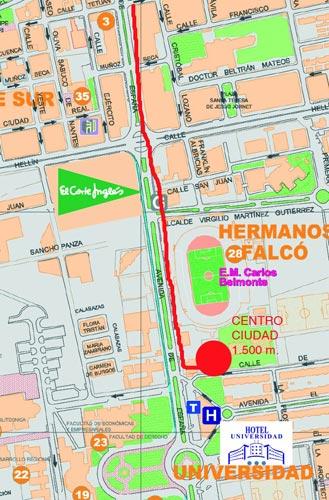 Plano de acceso de Hotel Universidad