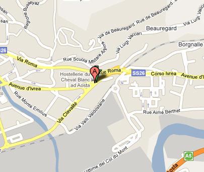 Plano de acceso de Hotel Hostellerie Du Cheval Blanc