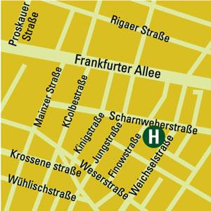 Plano de acceso de Hotel Ibis Styles Berlin City Ost