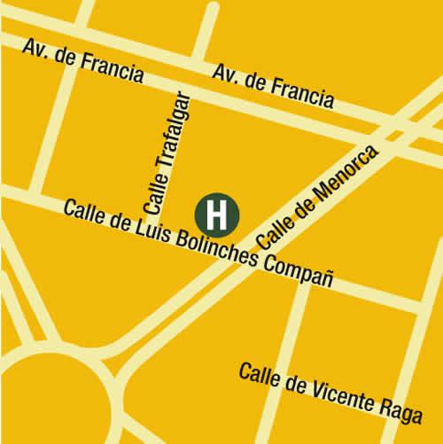 Plano de acceso de Hotel Primus Valencia