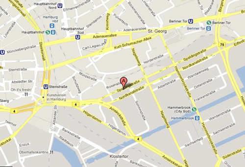 Plano de acceso de Arcadia Hotel Belmondo Hamburg