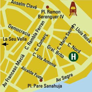 Plano de acceso de Hotel Zenit Lleida