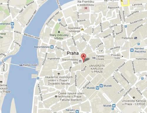 Plano de acceso de Grand Hotel Praha
