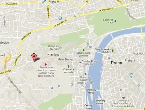 Plano de acceso de Hotel Questenberk