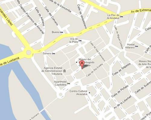 Plano de acceso de Hotel Eurostars Merida Palace